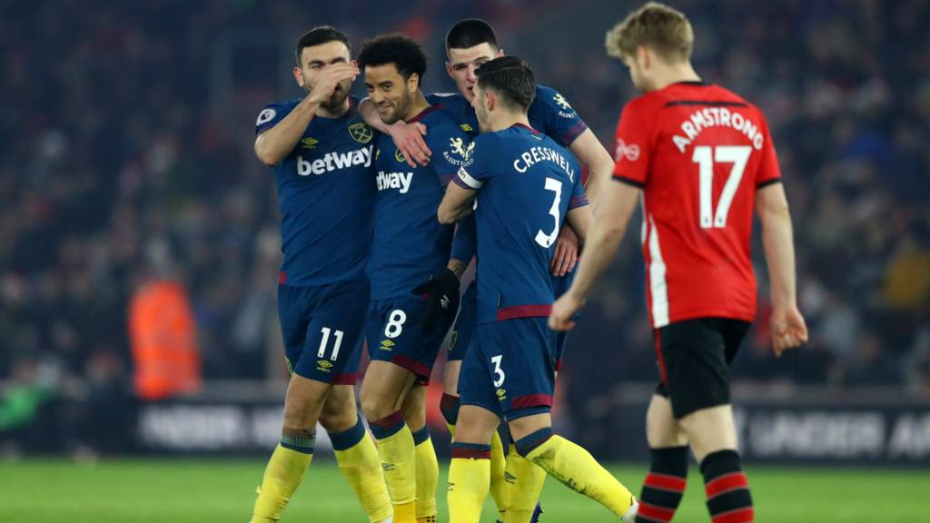 Southampton 1-2 West Ham United